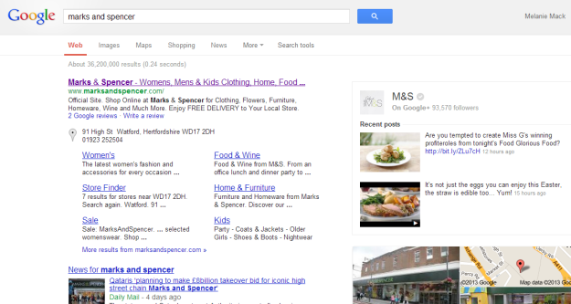 marks and spencer brand search screenshot